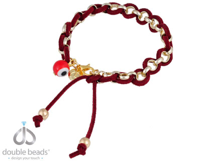 www.beadyourfashion.com - DoubleBeads Creation Jewelry Kit bracelet, inner size ± 18cm with imitation suede, bead and various metal accessories