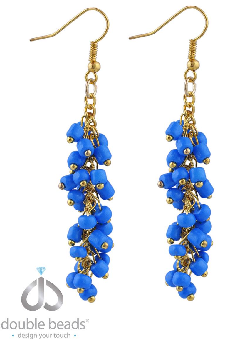 www.beadyourfashion.nl - DoubleBeads Creation Sieradenpakket oorbellen ± 7cm met glaskralen en metalen accessoires