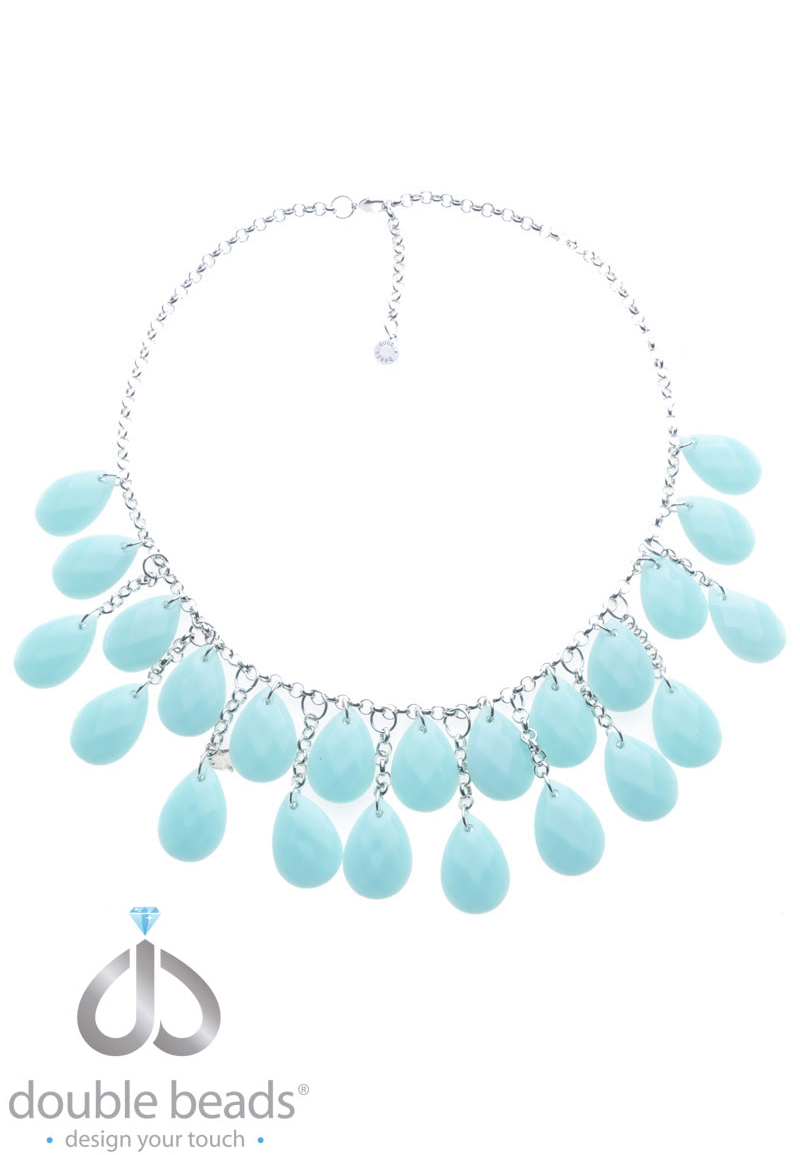 www.beadyourfashion.com - DoubleBeads Creation Jewelry Kit necklace ± 38-58cm with synthetic pendants and metal accessories