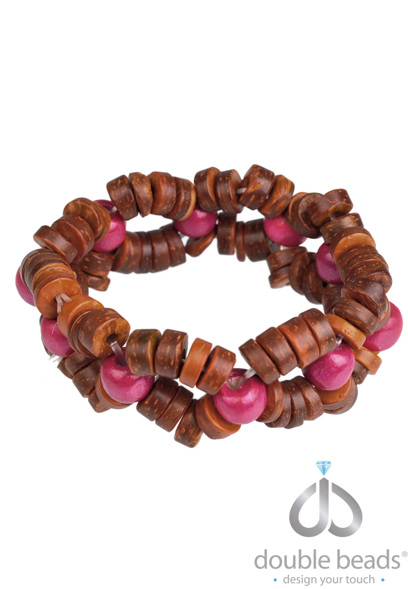 www.beadyourfashion.com - DoubleBeads Creation Jewelry Kit bracelet stretchable, inner size ± 18cm, with wooden beads