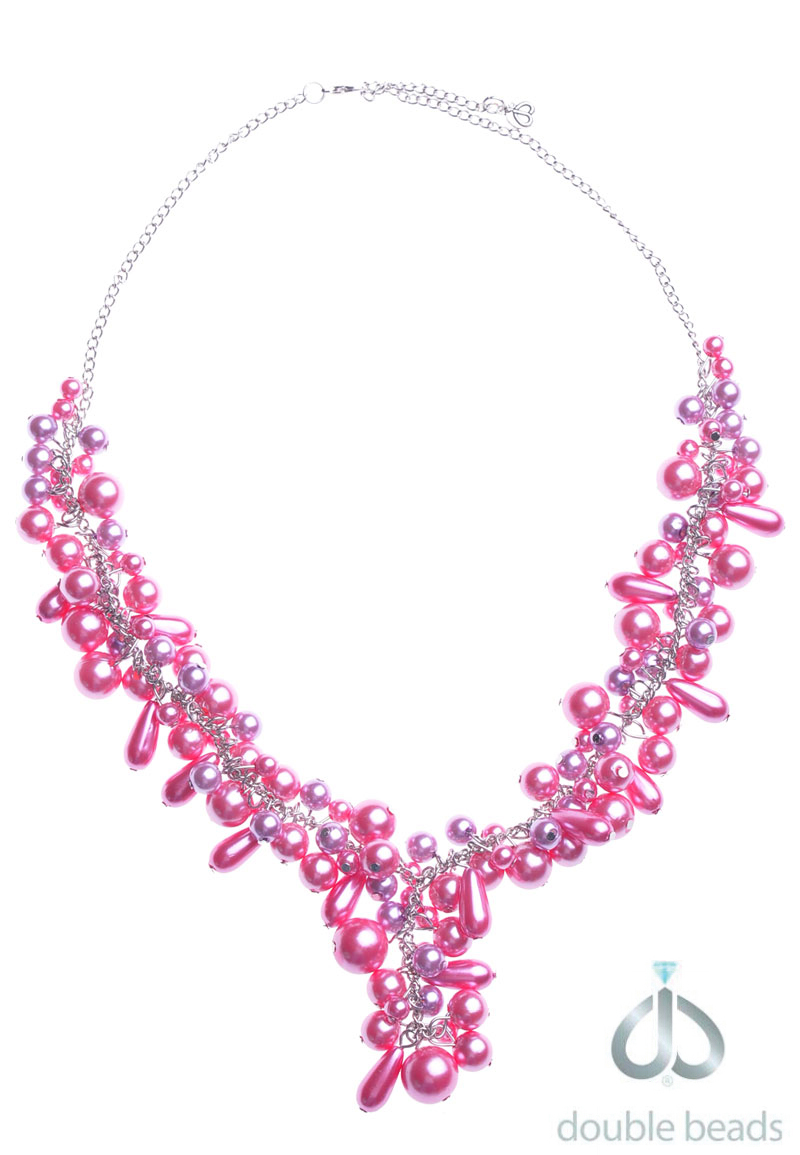 www.beadyourfashion.com - DoubleBeads Creation Jewelry Kit necklace ± 55-60cm with synthetic pendants and metal accessories