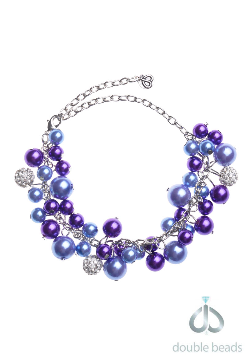 www.beadyourfashion.com - DoubleBeads Creation Jewelry Kit bracelet ± 18-28cm with synthetic beads, strass beads and metal accessories