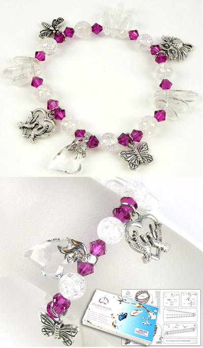 www.beadyourfashion.nl - DoubleBeads Sieradenpakket Pink Spring armband rekbaar, binnenmaat ± 20cm met SWAROVSKI ELEMENTS en diverse andere materialen (o.a. natuursteen, 925 zilveren klemmetje en metalen bedels)