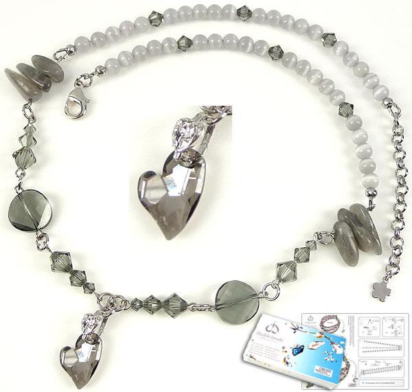 www.beadyourfashion.nl - DoubleBeads Sieradenpakket Misty Grey halsketting ± 53-59cm met SWAROVSKI ELEMENTS kralen, hanger hart en diverse andere materialen (o.a. natuursteen, 925 zilveren klemmetje, metalen kettelstiften)