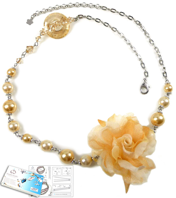 www.beadyourfashion.com - DoubleBeads Jewelry Kit Royal Flower necklace ± 58-64cm with SWAROVSKI ELEMENTS pearls, beads, pendant and various other materials (such as metal chain and textile flower)