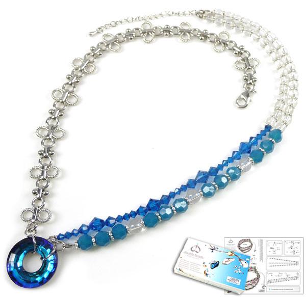 www.beadyourfashion.nl - DoubleBeads Sieradenpakket Carribean Chique halsketting ± 56-63cm met SWAROVSKI ELEMENTS kralen, hanger en diverse andere materialen (o.a. natuursteen kralen Natural Crystal en metalen ketting)