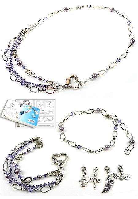 www.beadyourfashion.nl - DoubleBeads Sieradenpakket Midnight Flight halsketting/armbanden ± 59cm/19cm met SWAROVSKI ELEMENTS parels, kralen en metalen bedels, ketting en accessoires