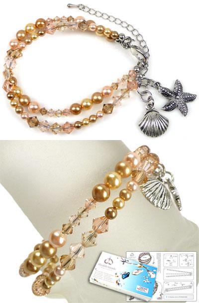 www.beadyourfashion.nl - DoubleBeads Sieradenpakket Summer Sparkle armband, binnenmaat ± 19-25cm, met SWAROVSKI ELEMENTS parels, kralen en diverse andere materialen (o.a. metalen accesoires)