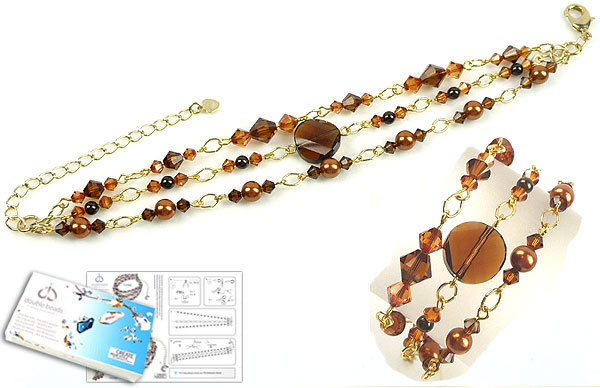 www.beadyourfashion.com - DoubleBeads Jewelry Kit Golden Storm bracelet, inner size ± 20-27cm, with SWAROVSKI ELEMENTS pearls, beads and various other materials (such as metal accessories)
