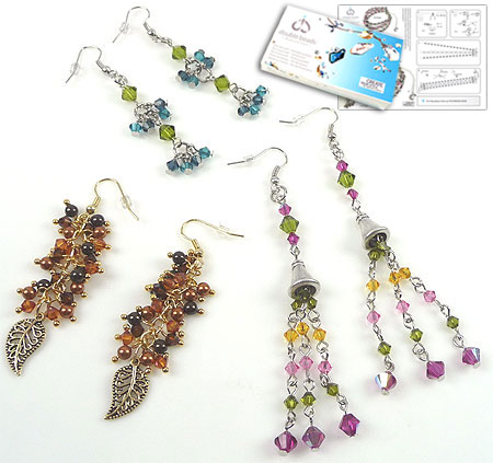 www.beadyourfashion.com - DoubleBeads Jewelry Kit New York Fall earrings (set of 3 pairs) with SWAROVSKI ELEMENTS pearls, beads and various other materials (such as metal accessories and metal charms)