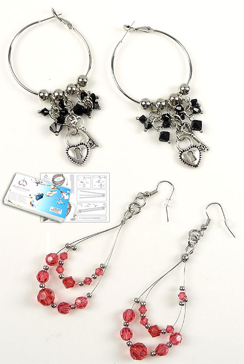 www.beadyourfashion.com - DoubleBeads Jewelry Kit Downtown LA earrings (set of 2 pairs) with SWAROVSKI ELEMENTS beads and various other materials (such as metal beads, metal accessories and metal charms)