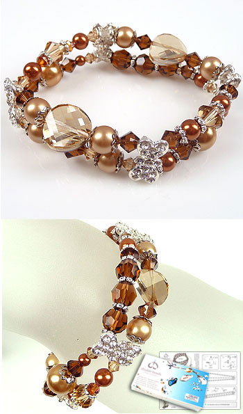 www.beadyourfashion.com - DoubleBeads Jewelry Kit Sweet Caramel bracelet stretchable, smallest size ± 18cm with SWAROVSKI ELEMENTS pearls, beads and various other materials (such as metal roundels and dividers with strass)