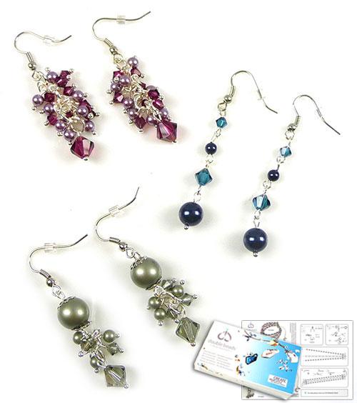 www.beadyourfashion.nl - DoubleBeads Sieradenpakket Parisian Elegance oorbellen (set van 3 paar) met SWAROVSKI ELEMENTS parels, kralen en diverse andere materialen (o.a. metalen accessoires)