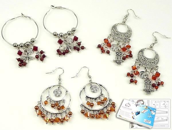 www.beadyourfashion.nl - DoubleBeads Sieradenpakket Marrakech Magic oorbellen (set van 3 paar) met SWAROVSKI ELEMENTS parels, kralen en diverse andere materialen (o.a. metalen accessoires)