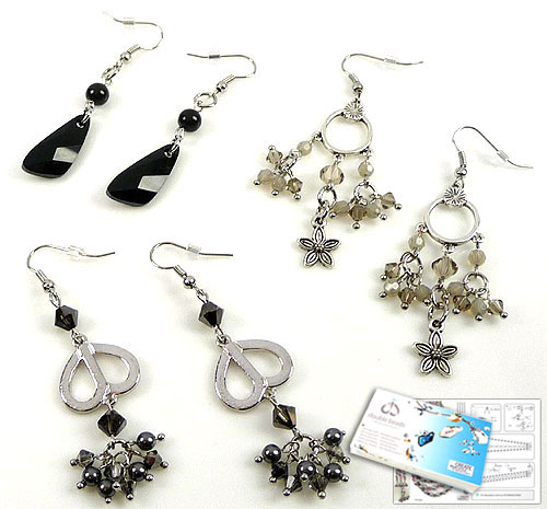 www.beadyourfashion.com - DoubleBeads Jewelry Kit Midnight in Moscow earrings (set of 3 pairs) with SWAROVSKI ELEMENTS pearls, beads and various other materials (such as metal pendants/charms and metal accessories)