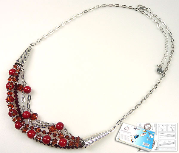 www.beadyourfashion.com - DoubleBeads Jewelry Kit Red Storm necklace ± 61-68cm with SWAROVSKI ELEMENTS pearls, beads and various other materials (such as metal accesoiries)