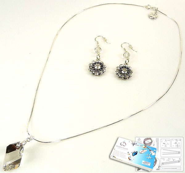 www.beadyourfashion.com - DoubleBeads Jewelry Kit Starlight necklace ± 45cm and earrings with SWAROVSKI ELEMENTS pendant, beads and various materials (such as 925 silver necklace, accessories and metal accessories)