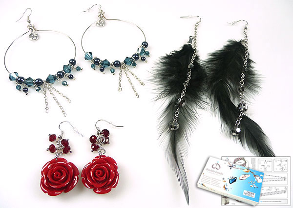 www.beadyourfashion.com - DoubleBeads Jewelry Kit Venice Romance earrings (set of 3 pairs) with SWAROVSKI ELEMENTS pearls, beads and various other materials (such as coral, feathers and metal accessories)