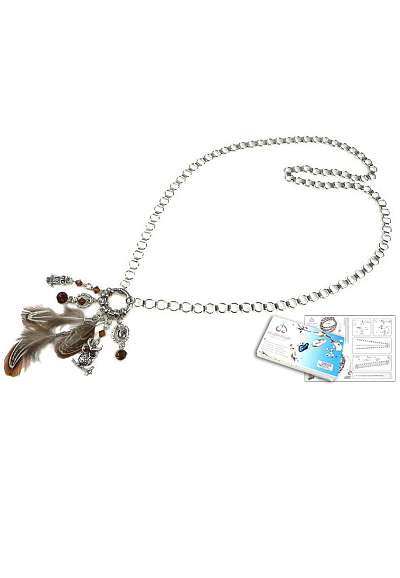 www.beadyourfashion.com - DoubleBeads Jewelry Kit Mystic Forest Owl necklace ± 85cm, with SWAROVSKI ELEMENTS beads, pointed backs and various other materials (such as feathers, metal pendants/charms and metal accessories)