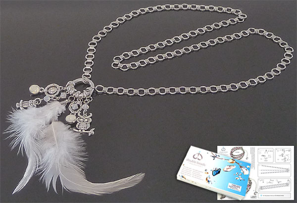 www.beadyourfashion.com - DoubleBeads Jewelry Kit Mystic Snow Owl necklace ± 85cm, with SWAROVSKI ELEMENTS beads, pointed backs and various other materials (such as feathers, metal pendants/charms and metal accessories)