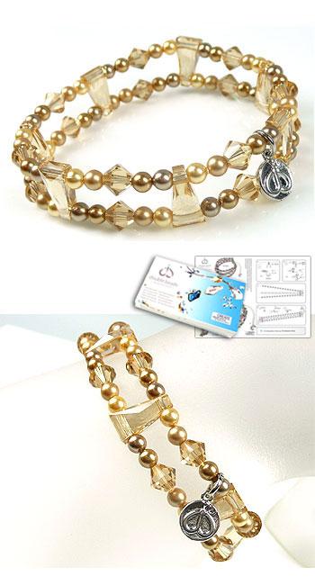 www.beadyourfashion.com - DoubleBeads Jewelry Kit Nostalgic Charm bracelet stretchable, smallest size ± 18cm with SWAROVSKI ELEMENTS pearls, beads and dividers