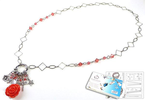 www.beadyourfashion.nl - DoubleBeads Sieradenpakket Pretty Blossom halsketting ± 75cm met SWAROVSKI ELEMENTS kralen en diverse materialen (o.a. koralen hanger, metalen hangers/bedels en accessoires)