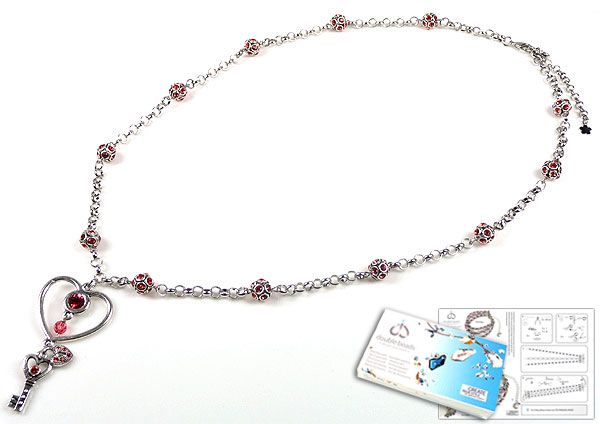www.beadyourfashion.com - DoubleBeads Jewelry Kit Key to my Heart necklace ± 74-81cm with SWAROVSKI ELEMENTS beads, pointed backs and various other materials (such as metal accessories)