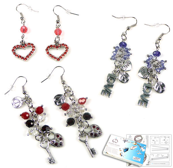www.beadyourfashion.com - DoubleBeads Jewelry Kit Amour à Paris earrings (set of 3 pairs) with SWAROVSKI ELEMENTS beads, pointed backs and various other materials (such as metal pendants/charms and metal accessories)