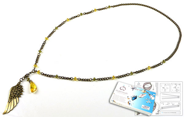 www.beadyourfashion.com - DoubleBeads Jewelry Kit Golden Wings necklace ± 75cm with SWAROVSKI ELEMENTS pendant, beads and various materials (such as metal accessories)