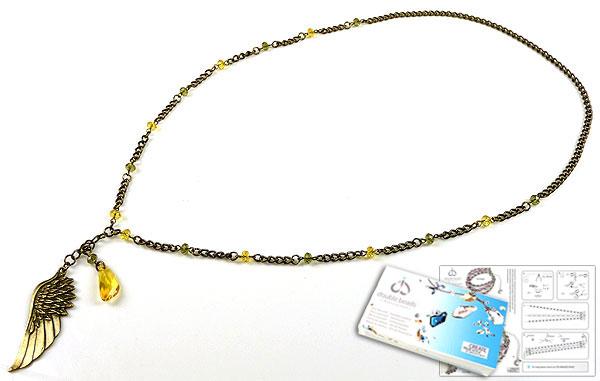 www.beadyourfashion.nl - DoubleBeads Sieradenpakket Golden Wings halsketting ± 75cm met SWAROVSKI ELEMENTS hanger, kralen en diverse materialen (o.a. metalen accessoires)