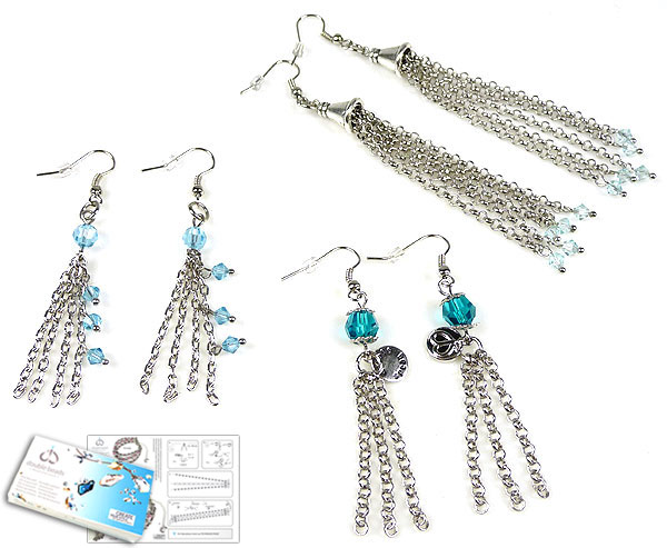 www.beadyourfashion.com - DoubleBeads Jewelry Kit Niagara Falls earrings (set of 3 pairs) with SWAROVSKI ELEMENTS beads and various other materials (such as metal accessories)