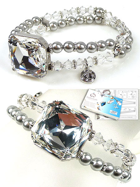 www.beadyourfashion.nl - DoubleBeads Sieradenpakket Crystal Mirror armband rekbaar, binnenmaat ± 18cm, met SWAROVSKI ELEMENTS parels, kralen, similistenen, fancy stone en diverse materialen (o.a. metalen accessoires)