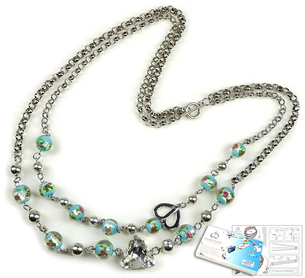 www.beadyourfashion.com - DoubleBeads Jewelry Kit Blue Moon necklace ± 70cm with SWAROVSKI ELEMENTS fancy stone and various other materials (such as glass beads Italian style and metal accessories)