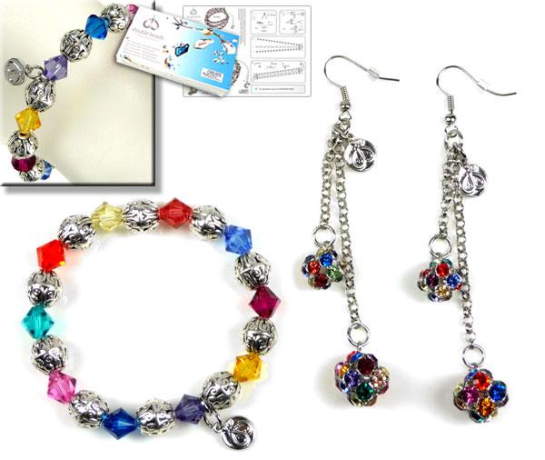 www.beadyourfashion.nl - DoubleBeads Sieradenpakket Rainbow Glamour armband, rekbaar, binnenmaat ± 17cm, en oorbellen ± 9cm, met SWAROVSKI ELEMENTS kralen, similistenen en diverse andere materialen (o.a. metalen accessoires)