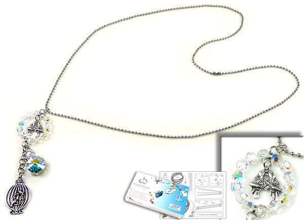 www.beadyourfashion.nl - DoubleBeads Sieradenpakket Turtledoves halsketting ± 80cm met SWAROVSKI ELEMENTS kralen, similistenen en diverse andere materialen (o.a. metalen accessoires)