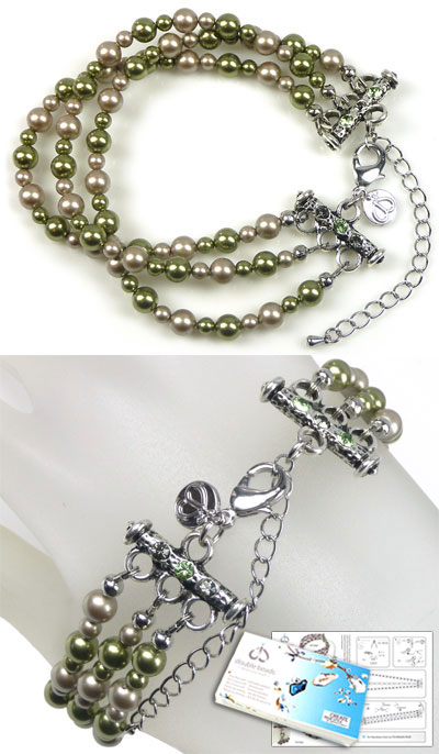 www.beadyourfashion.com - DoubleBeads Jewelry Kit Jungle Chic bracelet, inner size ± 21-29cm, with SWAROVSKI ELEMENTS pearls, pointed backs and various other materials (such as metal accessories)
