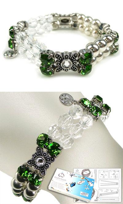 www.beadyourfashion.nl - DoubleBeads Sieradenpakket Lucky Clovers armband rekbaar, binnenmaat ± 19cm, met SWAROVSKI ELEMENTS kralen, similistenen en diverse andere materialen (o.a. metalen accessoires)