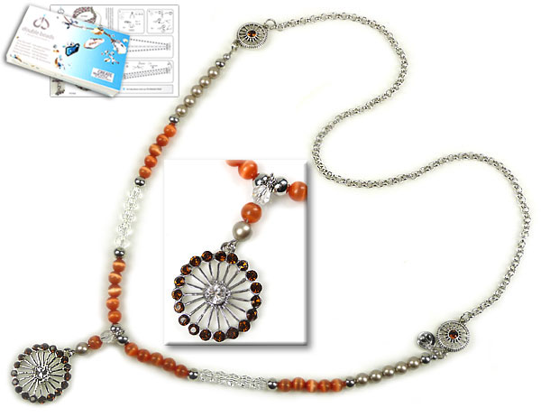 www.beadyourfashion.com - DoubleBeads Jewelry Kit Indian Sun necklace ± 70cm with SWAROVSKI ELEMENTS pearls, beads, pointed backs and various other materials (such as glass beads cateye and metal accessories)