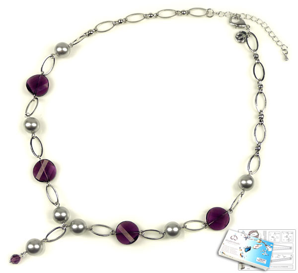 www.beadyourfashion.com - DoubleBeads Jewelry Kit Lilac Loops necklace ± 48-54cm with SWAROVSKI ELEMENTS pearls, beads and various other materials (such as metal accessories)