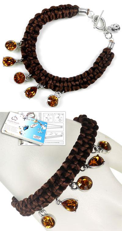 www.beadyourfashion.nl - DoubleBeads Sieradenpakket Silky Sparkles armband, binnenmaat ± 21cm, met SWAROVSKI ELEMENTS similistenen en diverse andere materialen (o.a. zijdekoord en metalen accessoires)