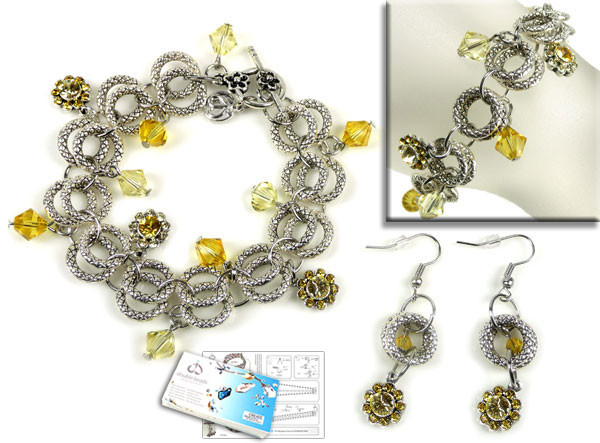 www.beadyourfashion.com - DoubleBeads Jewelry Kit Buttercup bracelet, inner size ± 21cm, and earrings ± 5cm, with SWAROVSKI ELEMENTS beads, pointed backs and various materials (such as metal accessories)