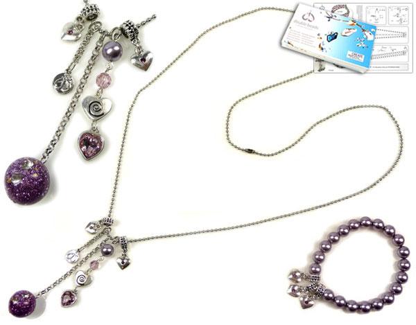 www.beadyourfashion.nl - DoubleBeads Sieradenpakket Pastel Kiss halsketting ± 85cm en armband ± 18cm met SWAROVSKI ELEMENTS parels, kraal, similistenen en diverse andere materialen (o.a. kunststof kraal en metalen accessoires