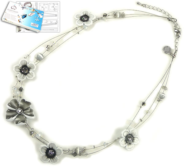 www.beadyourfashion.com - DoubleBeads Jewelry Kit Water Lily necklace ± 41-48cm with SWAROVSKI ELEMENTS beads and various other materials (such as glass beads cateye and metal accessories)