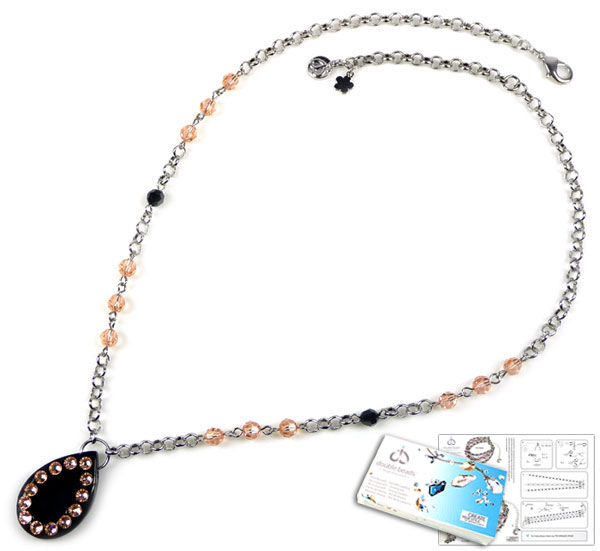 www.beadyourfashion.nl - DoubleBeads Sieradenpakket Sparklin' Agate halsketting ± 51-58cm met SWAROVSKI ELEMENTS kralen, similistenen en diverse andere materialen (o.a. natuursteen Agate en metalen accessoires)