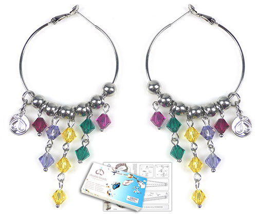 www.beadyourfashion.com - DoubleBeads Jewelry Kit Rainbow Party earrings with SWAROVSKI ELEMENTS beads and various other materials (such as metal accessories)