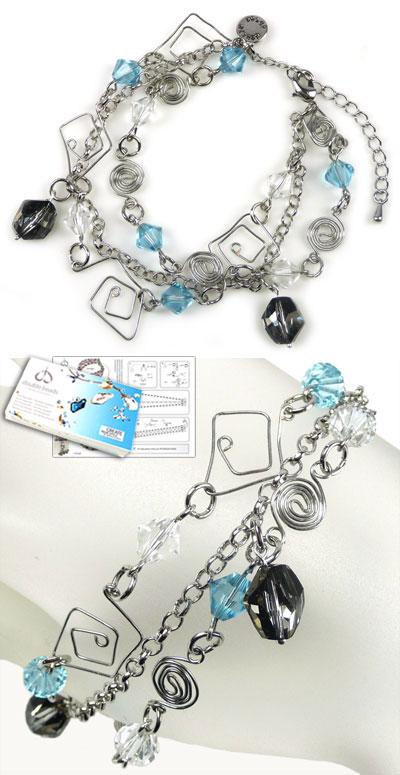 www.beadyourfashion.nl - DoubleBeads Sieradenpakket Mazes Mania armband, binnenmaat ± 19-26cm, met SWAROVSKI ELEMENTS kralen en diverse andere materialen (o.a. metalen accessoires)