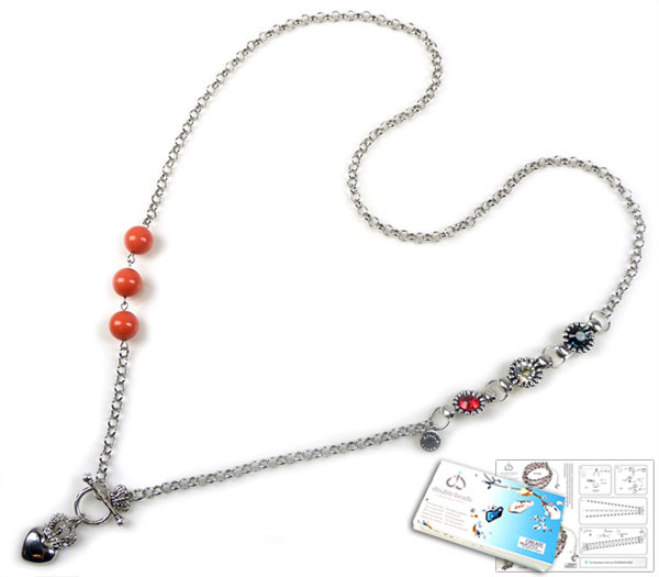 www.beadyourfashion.com - DoubleBeads Jewelry Kit Dutch Crown necklace ± 80cm with SWAROVSKI ELEMENTS pearls, pointed backs and various other materials (such as metal pendant/charm and accessories)