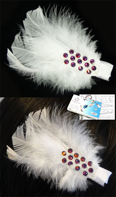 www.beadyourfashion.com - DoubleBeads Jewelry Kit Chic Feather hairpin ± 8cm with SWAROVSKI ELEMENTS flat backs and various materials (such as feathers and metal accessories)