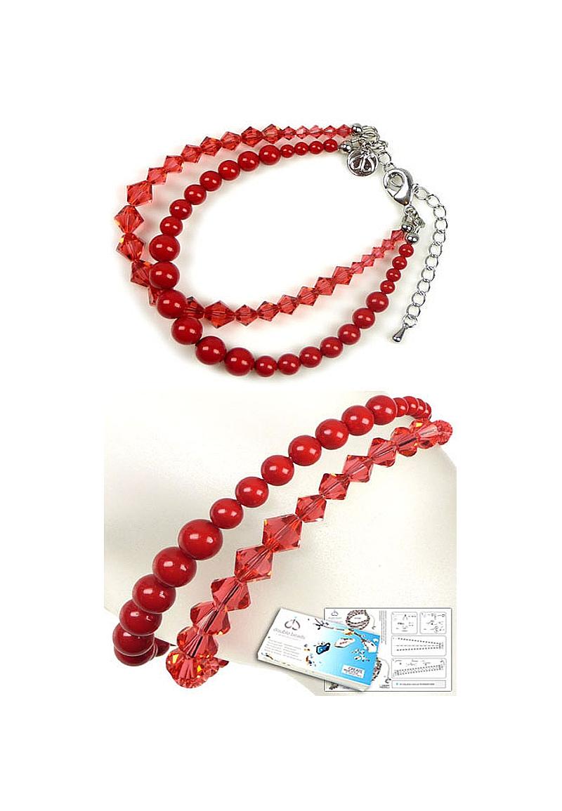 www.beadyourfashion.nl - DoubleBeads Sieradenpakket Coral Glam armband, binnenmaat ± 20-27cm, met SWAROVSKI ELEMENTS parels, kralen en diverse andere materialen (o.a. metalen accesoires)