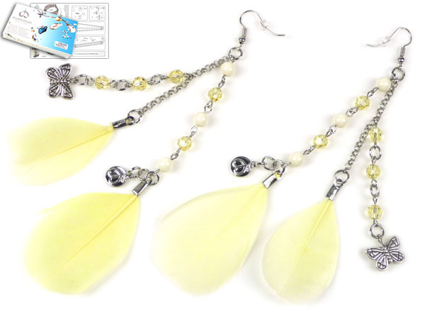 www.beadyourfashion.com - DoubleBeads Jewelry Kit Sweet as Honey earrings with SWAROVSKI ELEMENTS pearls, beads and various other materials (such as feathers and metal accessories)